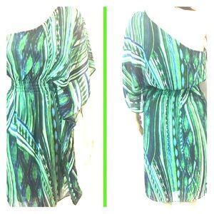 London Times Green One Shoulder Dress